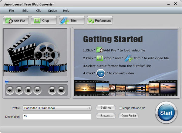 Screenshot af Anyvideosoft Free iPod Video Converter