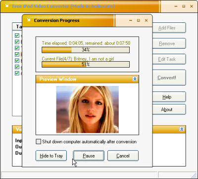 Screenshot af Free iPod Video Converter