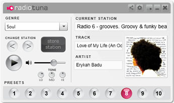 Screenshot af Radio Tuna Desktop Player