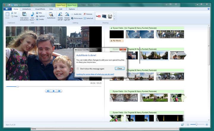 Screenshot af Windows Live Movie Maker