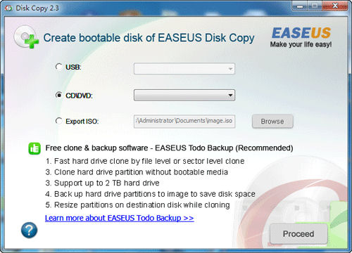 Screenshot af EASEUS Disk Copy