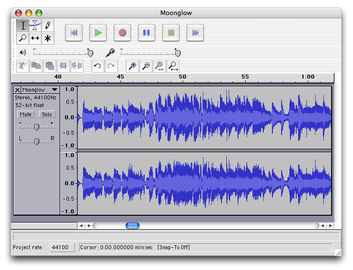 Screenshot af Audacity til Mac