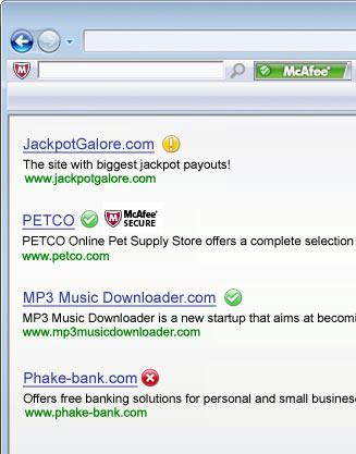 Screenshot af McAfee SiteAdvisor til Mac