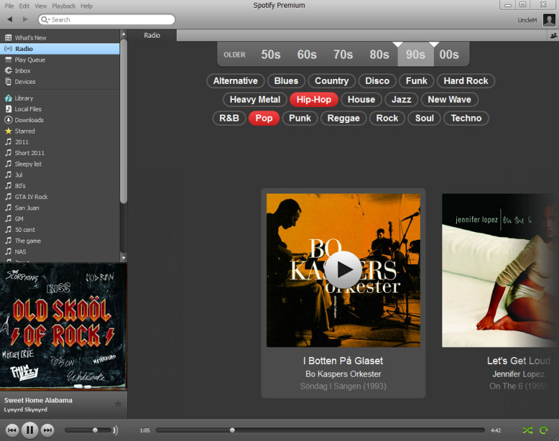 Screenshot af Spotify til Mac