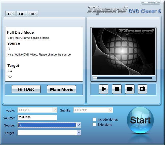 Screenshot af Tipard DVD Cloner