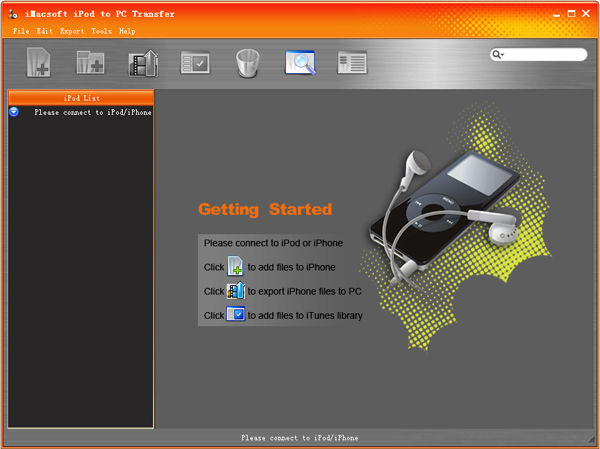 Screenshot af iMacsoft iPod to PC Transfer