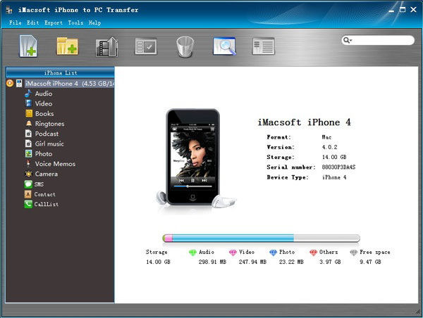 Screenshot af iMacsoft iPhone to PC Transfer