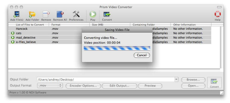Screenshot af Prism Video Converter til Mac