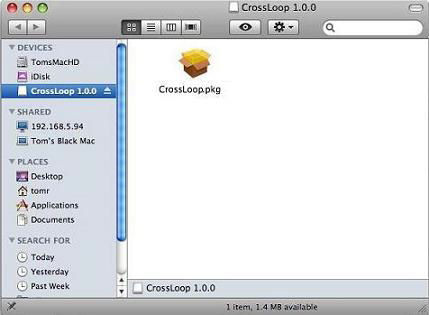 Screenshot af CrossLoop til Mac