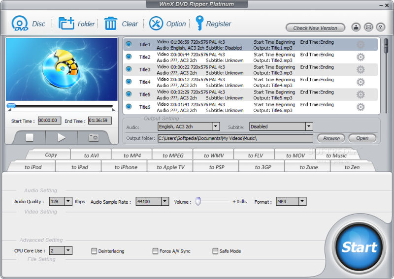 Screenshot af WinX DVD Ripper Platinum