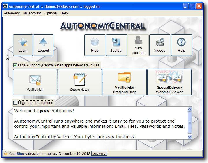 Screenshot af AutonomyCentral til Mac