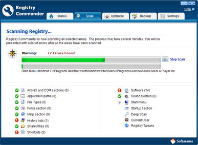 Screenshot af Registry Commander