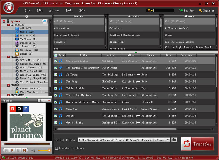 Screenshot af 4Videosoft iPhone 4S to Computer Transfer