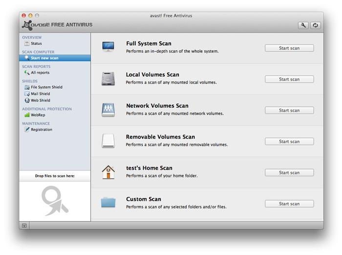 Screenshot af Avast! Free Antivirus til Mac