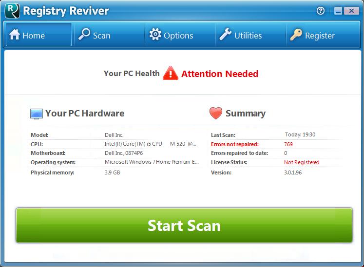 Screenshot af Registry Reviver
