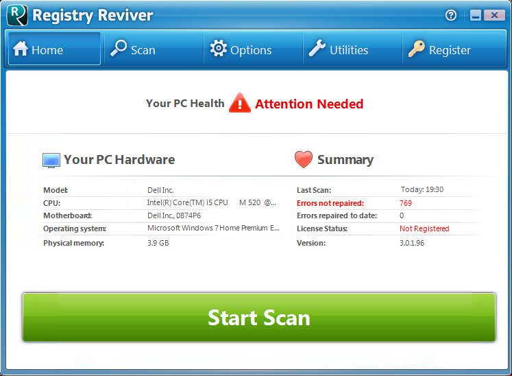 Screenshot af Registry Reviver