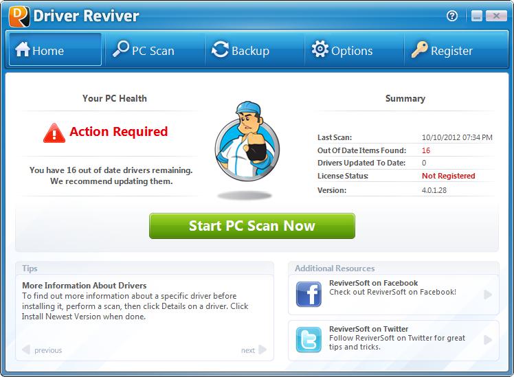 Screenshot af Driver Reviver