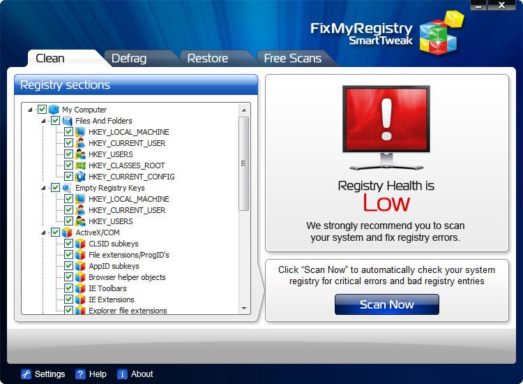 Screenshot af FixMyRegistry