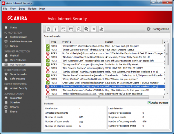 Screenshot af Avira Internet Security