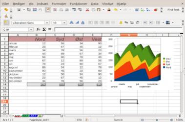 Screenshot af LibreOffice (dansk)