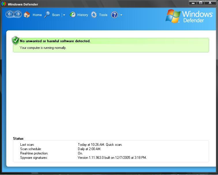 Screenshot af Microsoft Windows Defender