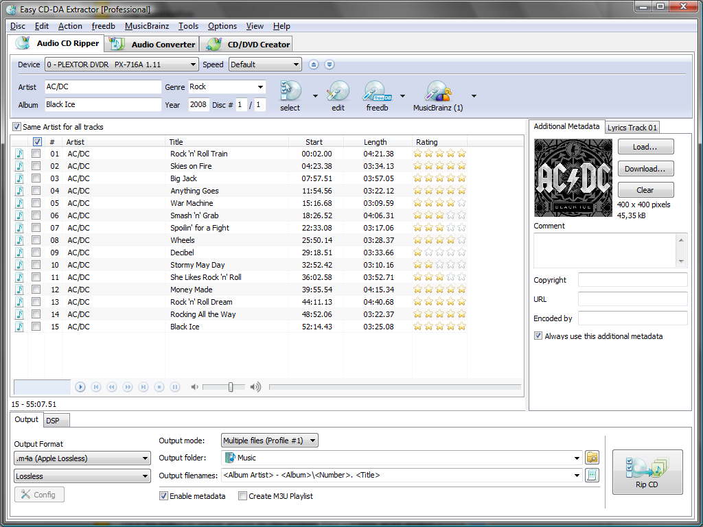 Screenshot af Easy CD-DA Extractor