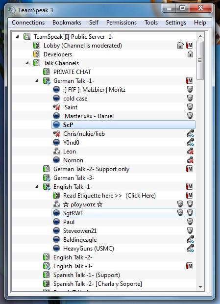 Screenshot af Teamspeak