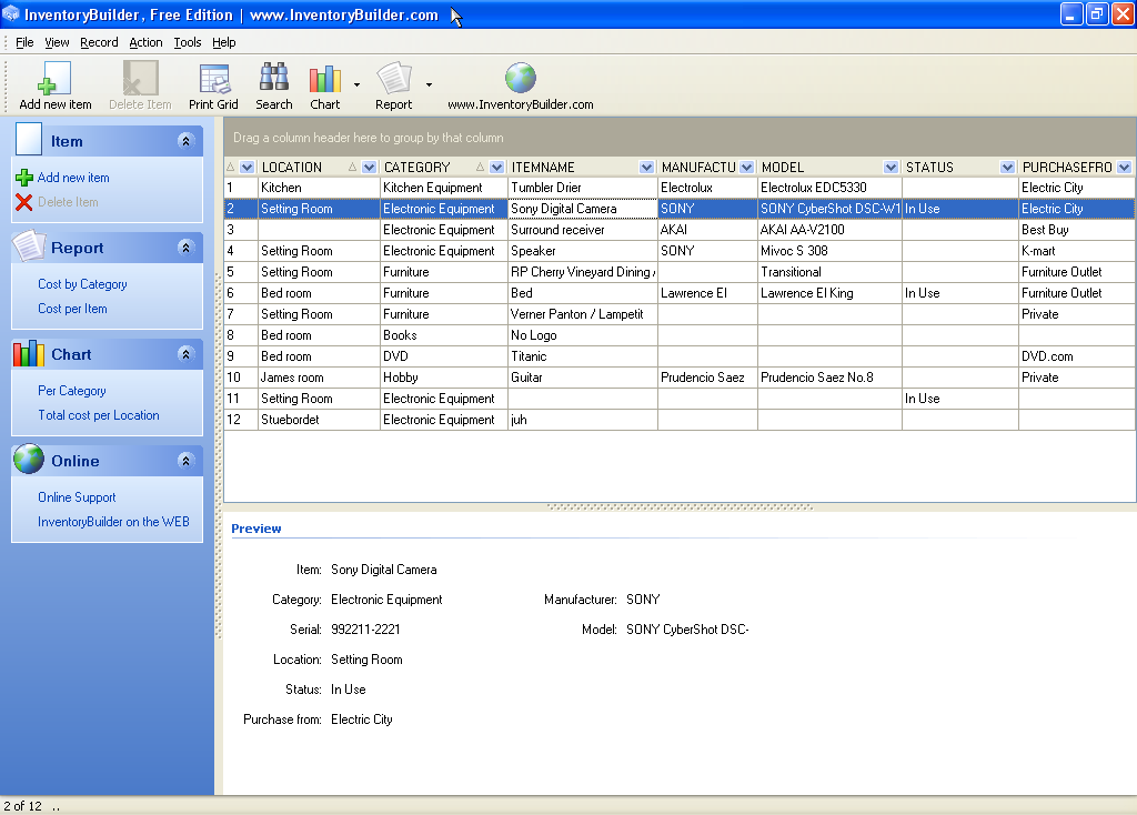 Screenshot af InventoryBuilder