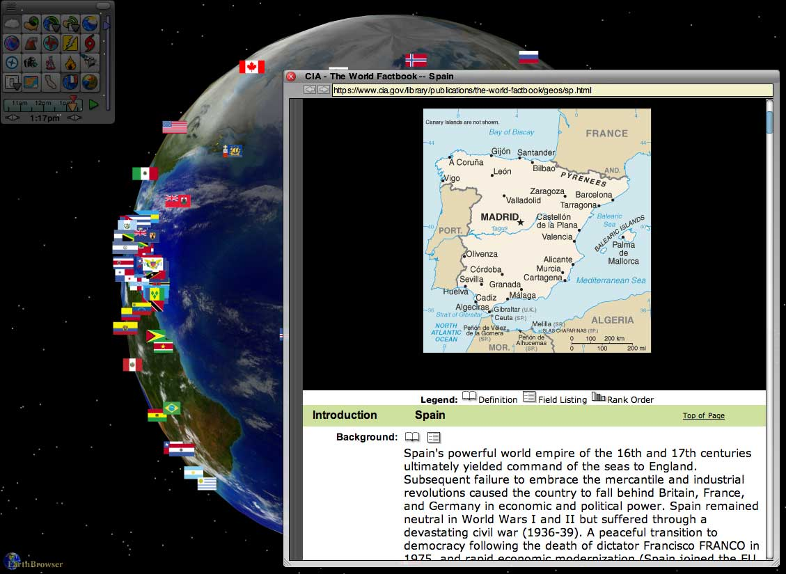 Screenshot af EarthBrowser