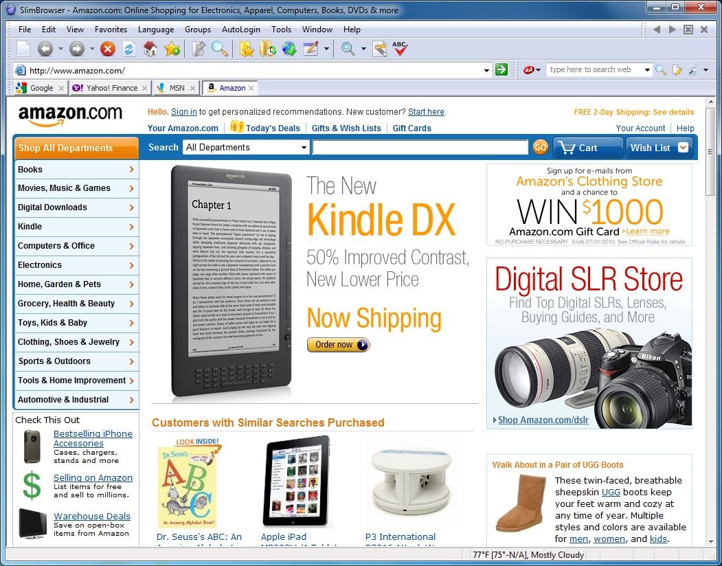 Screenshot af Slim Browser
