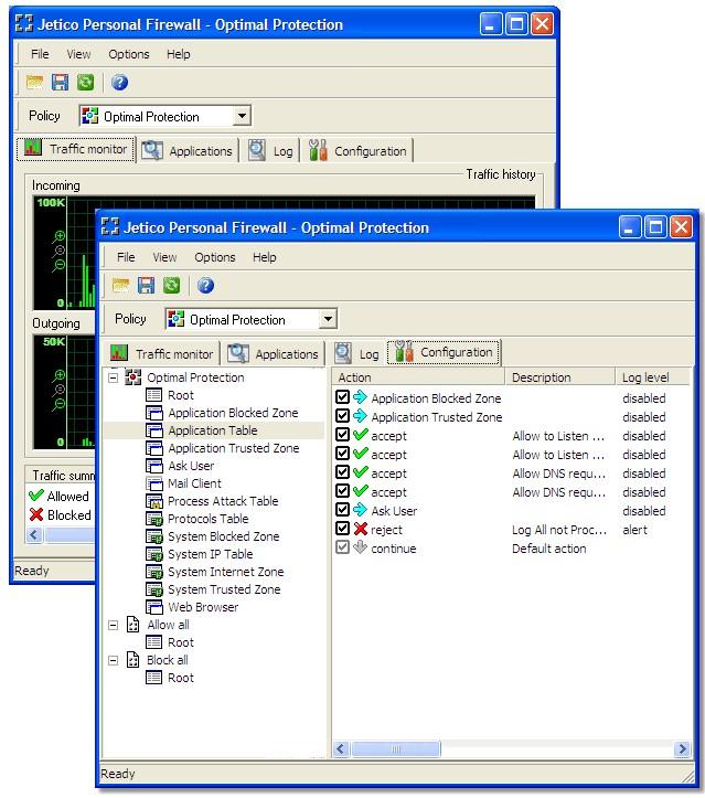Screenshot af Jetico Personal Firewall