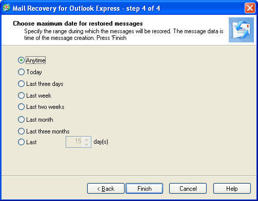 Screenshot af Mail Recovery for Outlook Express