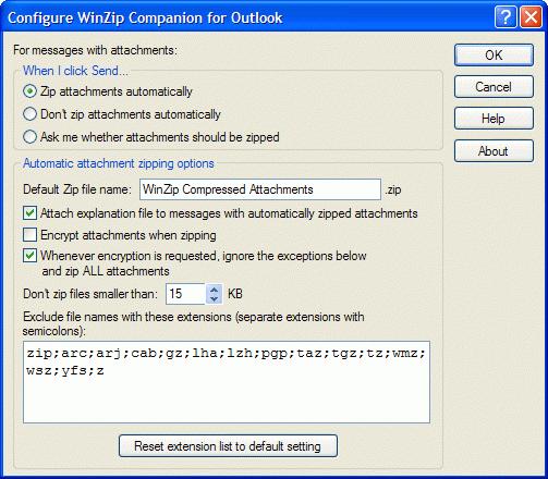 Screenshot af WinZip E-Mail Companion