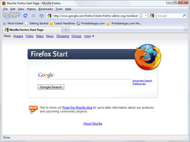 Screenshot af Portable Firefox