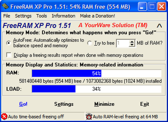 Screenshot af FreeRAM XP Pro