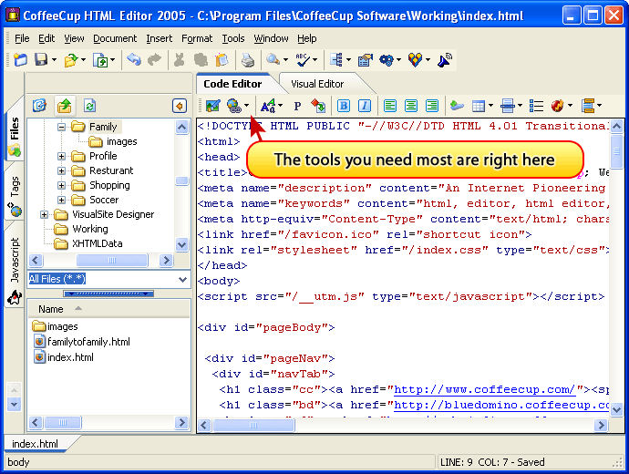 Screenshot af CoffeeCup Free HTML Editor