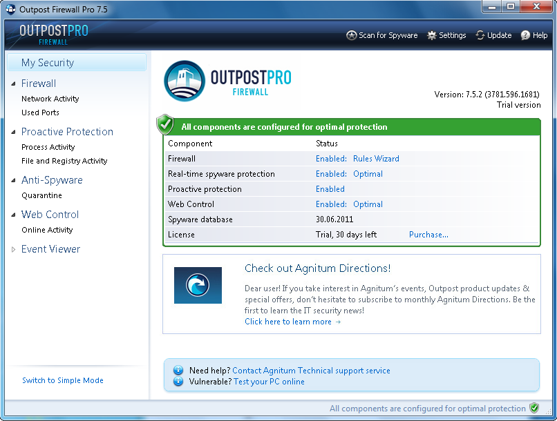 Screenshot af Agnitum Outpost Firewall Pro